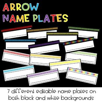 EDITABLE Arrow Name Plates : Classroom Decor