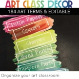 EDITABLE Art Classroom Supply Labels for Art classrooms Art Teachers printable