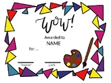 EDITABLE Art Themed Certificates