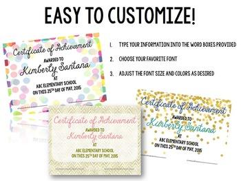 EDITABLE Award Certificates