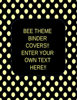 *EDITABLE* BEE THEME BINDER COVERS!