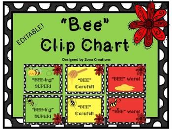 EDITABLE BEE Theme Clip Chart Behavior Management System S