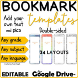 EDITABLE BOOKMARK templates for GOOGLE DRIVE™ - Add text & images ANY LANGUAGE