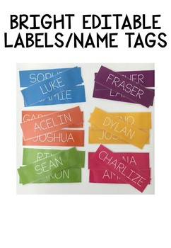 EDITABLE BRIGHT NAME CARDS/LABELS