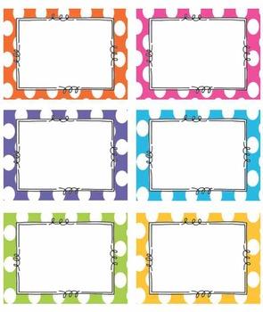 EDITABLE BRIGHT Polka Dot Tags/ Label- Classroom labels