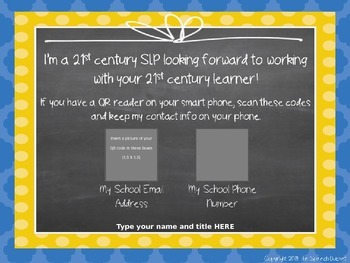 {EDITABLE} Back To School QR Code SLP Contact Sign