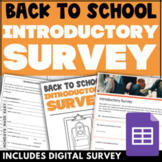 EDITABLE Back-to-School Introductory STUDENT SURVEY