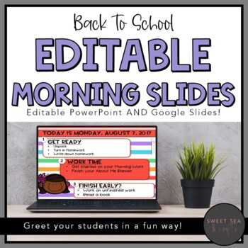 EDITABLE Back to School Morning and Task PowerPoint Slides