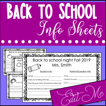 Back to School Night Forms for Middle or High School Use
