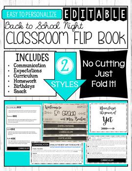 EDITABLE Back to School Night Parent Flip Book - Meet the Teacher