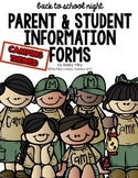 {EDITABLE} Back to School Night Parent & Student Information Forms *CAMPING*