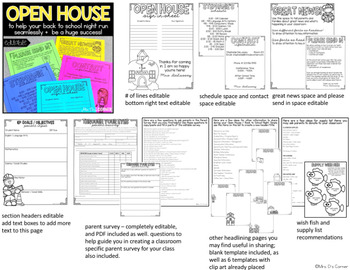 EDITABLE Back to School Night and Open House Documents