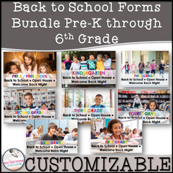 Back to School / Open House / Welcome Packet Grades K-6th EDITABLE