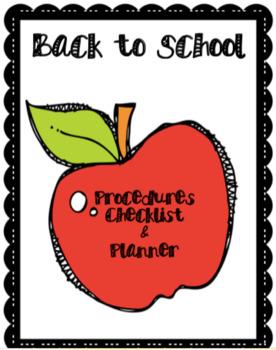 EDITABLE Back to School Procedures Checklist & Planner