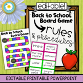 EDITABLE Back to School Rules and Procedures Board Game