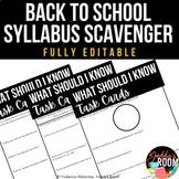 EDITABLE Back to School Syllabus Scavenger Hunt Activity