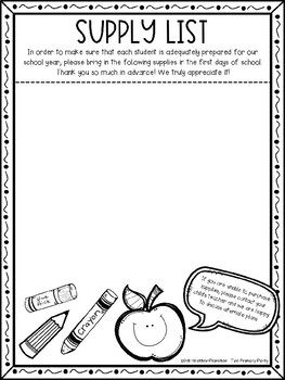 EDITABLE Back to School Welcome Letter