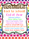EDITABLE Back to School and End of Year MEGA PACK