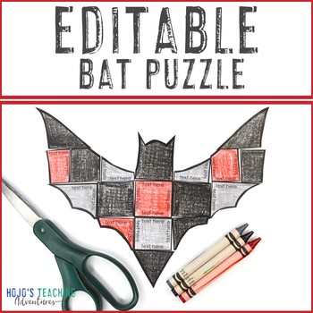 EDITABLE Bat Halloween Activity | Make your own Math, Literacy, Science, & MORE!