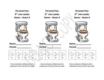EDITABLE Bathroom Pass