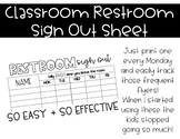 Bathroom Sign Out Sheet
