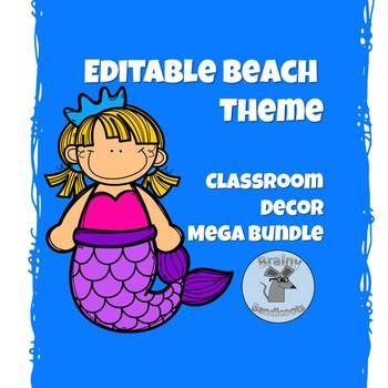 EDITABLE Beach Theme Classroom Decor MEGA BUNDLE