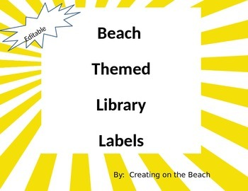 EDITABLE Beach Themed Library Labels