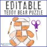 EDITABLE Puzzle: Use for a Teddy Bear Day, Activities, or MORE!