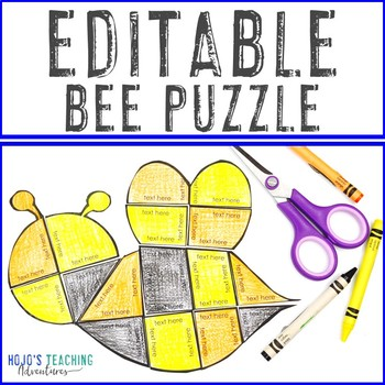 EDITABLE Bee Puzzle | Create your own Spring Activities on ANY topic!