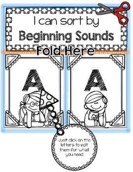 EDITABLE Beginning Sounds Foldable - Interactive Journals