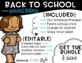 EDITABLE Beginning of the year Parent letters