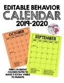 EDITABLE Behavior Calendar 2019-2020