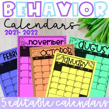 EDITABLE Behavior Calendars 2018-2019 (5 Templates)