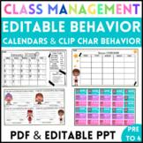 EDITABLE Behavior Calendars & Clip Chart/ Behavior Managem
