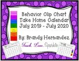 EDITABLE Behavior Chart Take Home Calendar 2019-2020