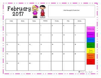 EDITABLE Behavior Chart Take Home Calendar 2016-2017
