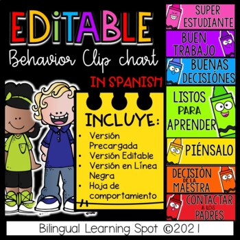 EDITABLE Behavior Clip Chart in Spanish - Crayon Edition