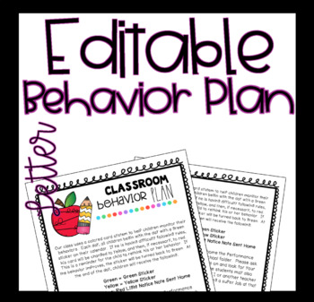 EDITABLE Behavior Plan Letter