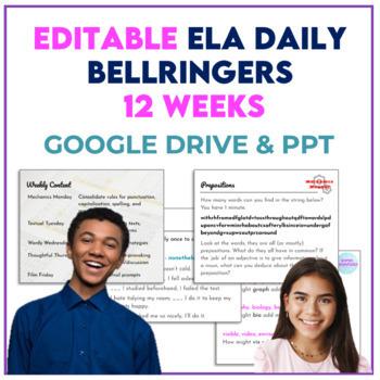 EDITABLE Bellringers for Middle School