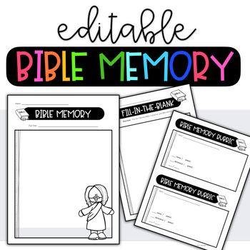 EDITABLE Bible Memory Bundle