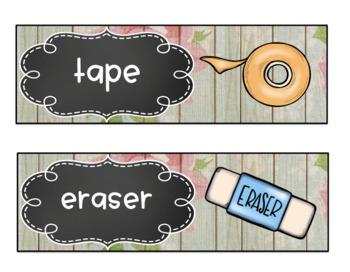 EDITABLE Bilingual Classroom Labels * Eng. & Spanish * ELL * Floral Wood