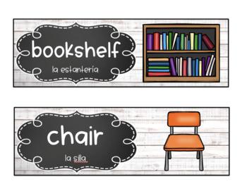 EDITABLE Bilingual Classroom Labels * Eng. & Spanish * ELL/ESL/ESOL *White Wood