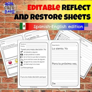 EDITABLE Bilingual Spanish Eng Reflect Restore PreK to 8 Restorative Practices