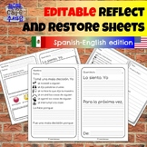 EDITABLE Bilingual Spanish Eng Reflect Restore PreK to 8 R