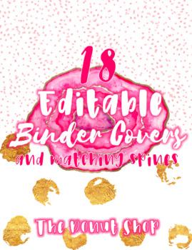 EDITABLE Binder Cover & Spines- Pink Geode