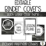 EDITABLE Binder Covers - Black Watercolor Theme
