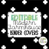 EDITABLE Modern Farmhouse Binder Covers- Black and White Geometric