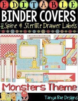 EDITABLE Binder Covers & Matching Sterilite Drawer / Desk Labels {Monsters}