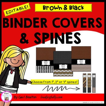 EDITABLE Binder Covers & Spines (Black & Brown Color Scheme)