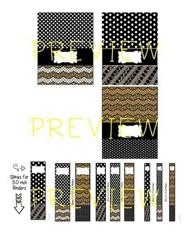 EDITABLE Binder Covers & Spines (Black & Brown Color Scheme)
